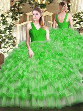 Floor Length Green Sweet 16 Dresses V-neck Sleeveless Zipper