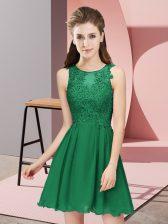 Mini Length Dark Green Dama Dress for Quinceanera Scoop Sleeveless Zipper