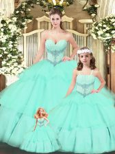 Aqua Blue Ball Gowns Tulle Sweetheart Sleeveless Beading and Ruching Floor Length Lace Up Vestidos de Quinceanera