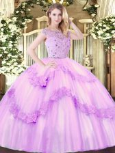 Vintage Lilac Ball Gowns Bateau Sleeveless Tulle Floor Length Zipper Beading and Appliques Ball Gown Prom Dress