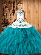 Sophisticated Sleeveless Floor Length Embroidery and Ruffles Lace Up 15 Quinceanera Dress with Teal