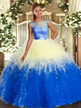 Low Price Multi-color Scoop Backless Beading and Ruffles Quince Ball Gowns Sleeveless