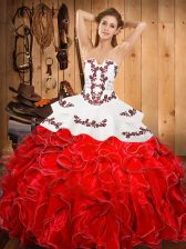 Sleeveless Floor Length Embroidery and Ruffles Lace Up Quince Ball Gowns with Wine Red