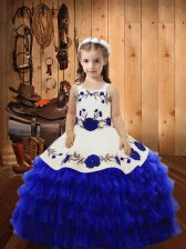 Floor Length Ball Gowns Sleeveless Royal Blue Custom Made Pageant Dress Lace Up
