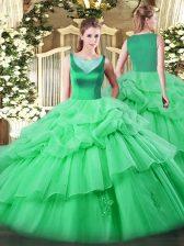 Scoop Sleeveless Side Zipper Quinceanera Dress Apple Green Organza