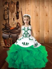Floor Length Turquoise Pageant Dress Wholesale Organza Sleeveless Embroidery and Ruffles