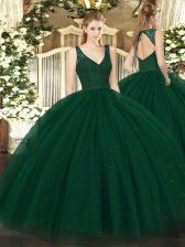 Admirable Beading Sweet 16 Dresses Dark Green Zipper Sleeveless Floor Length