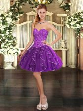 Pretty Ball Gowns Homecoming Dress Purple Sweetheart Tulle Sleeveless Mini Length Lace Up