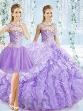 Sleeveless Beading and Ruching and Pick Ups Lace Up Quinceanera Gown with Lavender Brush Train