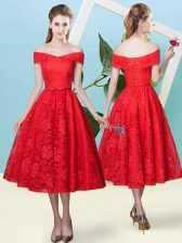 Off The Shoulder Cap Sleeves Lace Up Quinceanera Dama Dress Red Lace