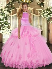 Rose Pink Ball Gowns Halter Top Sleeveless Tulle Floor Length Backless Beading and Ruffles Quinceanera Gown