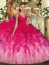 Captivating Multi-color Tulle Backless V-neck Sleeveless Floor Length Quinceanera Dress Beading and Ruffles