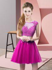 Fuchsia Tulle Zipper Prom Gown Sleeveless Mini Length Appliques