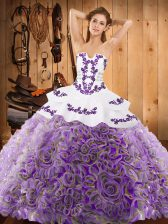 Strapless Sleeveless 15th Birthday Dress With Train Sweep Train Embroidery Multi-color Satin and Fabric With Rolling Flowers