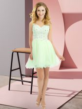 Best Selling Yellow Green Sleeveless Mini Length Beading and Lace Side Zipper Quinceanera Court of Honor Dress
