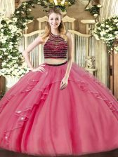 Elegant Coral Red Zipper Halter Top Beading and Ruffles Sweet 16 Dresses Organza Sleeveless