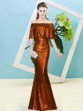 Best Selling Mermaid Rust Red Off The Shoulder Sequined Half Sleeves Floor Length Zipper