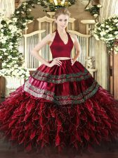 Enchanting Organza Halter Top Sleeveless Zipper Appliques and Ruffles Sweet 16 Dresses in Wine Red