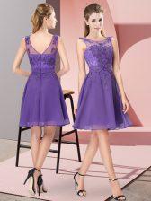 Stunning Sleeveless Zipper Knee Length Appliques Court Dresses for Sweet 16