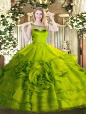 Fashion Olive Green Organza Zipper Vestidos de Quinceanera Sleeveless Floor Length Beading and Ruffles