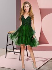 Appliques and Ruffles Quinceanera Dama Dress Green Backless Sleeveless Knee Length