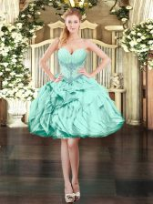 Super Apple Green Sleeveless Mini Length Beading and Ruffles Lace Up Prom Party Dress