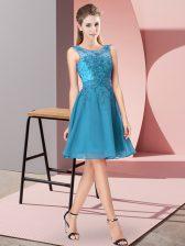 Cheap Chiffon Sleeveless Knee Length Damas Dress and Appliques