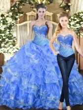 Noble Floor Length Lace Up Sweet 16 Dress Baby Blue for Military Ball and Sweet 16 and Quinceanera with Beading and Ruffles