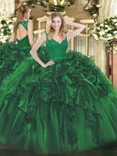 Elegant Dark Green V-neck Backless Beading and Lace and Ruffles Sweet 16 Dresses Sleeveless