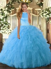 Lovely Baby Blue Backless Halter Top Beading and Ruffles Vestidos de Quinceanera Organza Sleeveless
