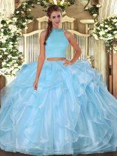 Light Blue Halter Top Neckline Beading and Ruffles 15 Quinceanera Dress Sleeveless Backless