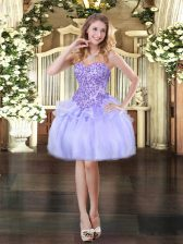 Eye-catching Lavender Organza Lace Up Sleeveless Mini Length Appliques