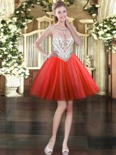 Red Sleeveless Tulle Zipper Evening Dress for Prom and Party