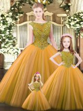 Fashion Tulle Scoop Sleeveless Lace Up Beading 15 Quinceanera Dress in Orange