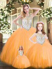 New Arrival Orange Red Lace Up Vestidos de Quinceanera Beading Sleeveless Floor Length