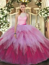 Affordable Multi-color Sweet 16 Dress Sweet 16 and Quinceanera with Beading and Ruffles High-neck Sleeveless Backless