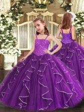 Latest Floor Length Purple Little Girl Pageant Gowns Organza Sleeveless Beading and Ruffles