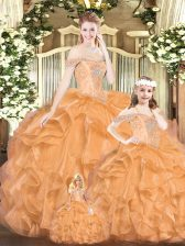 Cute Orange Red Quinceanera Gown Military Ball and Sweet 16 and Quinceanera with Beading and Ruffles Off The Shoulder Sleeveless Lace Up