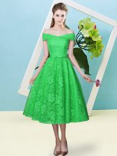 Lace Off The Shoulder Cap Sleeves Lace Up Bowknot Damas Dress in Green
