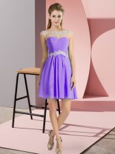 Best Selling Chiffon Scoop Cap Sleeves Lace Up Beading Prom Evening Gown in Lavender