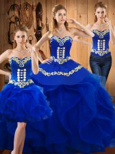 Popular Sweetheart Sleeveless Sweet 16 Quinceanera Dress Floor Length Embroidery and Ruffles Blue Satin and Organza