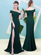 Top Selling Dark Green Zipper Off The Shoulder Ruching Quinceanera Dama Dress Elastic Woven Satin Sleeveless