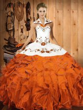 Ball Gowns Quinceanera Gown Orange Red Halter Top Satin and Organza Sleeveless Floor Length Lace Up