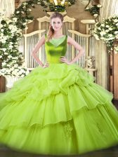 Low Price Yellow Green Sleeveless Beading and Pick Ups Floor Length Ball Gown Prom Dress