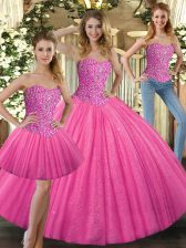 Fashionable Sleeveless Tulle Floor Length Lace Up Quince Ball Gowns in Hot Pink with Beading