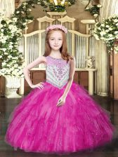 Sleeveless Floor Length Beading and Ruffles Zipper Pageant Gowns For Girls with Fuchsia