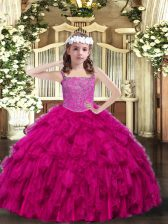 Fuchsia Ball Gowns Organza Straps Sleeveless Beading and Ruffles Floor Length Lace Up Little Girl Pageant Gowns