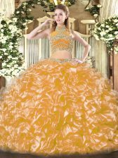 New Style Gold Two Pieces Tulle High-neck Sleeveless Beading and Ruffles Floor Length Backless Sweet 16 Dress