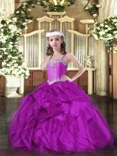 Excellent Sleeveless Organza Floor Length Lace Up Pageant Dress Toddler in Fuchsia with Beading and Ruffles