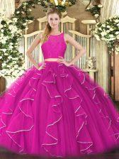 Delicate Fuchsia Zipper Scoop Lace and Ruffles Vestidos de Quinceanera Organza Sleeveless